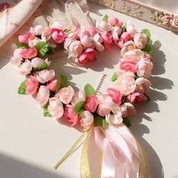 heart shape foam rose garland door decoration wedding flower home decor wedding car decoration flower silk wreath