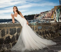 Wholesale 2017 Julie Vino Lace Mermaid Wedding Dresses Spaghetti Straps Tulle Floor Length Sexy Backless Formal Wedding Party Wedding Bridal Gowns