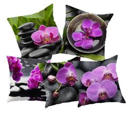 Wholesale Pillow Case European Style Orchids And Stone Home Decorative Throw Vintage Cotton Linen Square Pillow Case