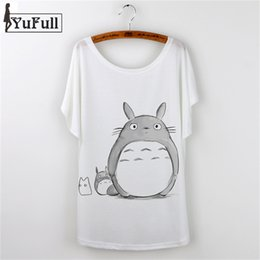Wholesale Harajuku Cute Tops Loose T shirt Totoro Print T Shirt Femme T shirt Manches longues Batwing Sleeve Plus Size White Tees Top