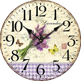 Wholesale 12 Rustic Lavender Butterfly Wall Clock Flower Antique Wooden Wall Clock Modern Design Large Decorative Wall Clocks Home Decor