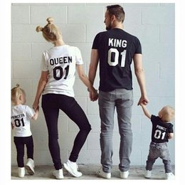 Discount wholesale shirts for summer Casual Family Matching King Queen Letter Print Shirts New Outfit T-shirt Stylish Family Clothing For Mother Father Daughter Son Clothes