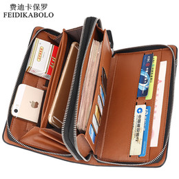 Discount mens long clutch bags leather Wholesale- Luxury Wallets Double Zipper Leather Male Purse Business Men Long Wallet Designer Brand Mens Clutch Handy Bag carteira Masculina