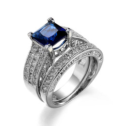 Couple Rings Rhodium Plated Blue Color Gemstone Statement Rings for Women  Silver Engagement Rings Diamond Rings