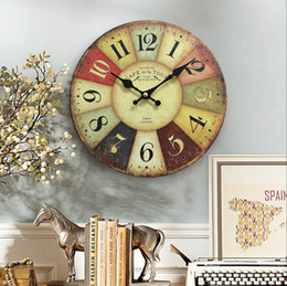 Wholesale Free Shipping Wood Wall Clocks France Paris Antiqued Quartz Mdf Wooden Clock 10 Inch Home Decoration Big Wall Clock