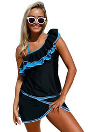 newest swimwear 2017 women blue ruffle detail one shoulder tankini swimsuit costumi da bagno donna maillot de bain