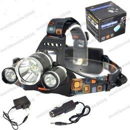 3T6 Phare 6000 Lumens 3 x Cree Lampe frontale XM-L T6 Lampe torche tête haute puissance Lampe torche Lampe torche + chargeur + chargeur voiture MYY