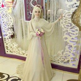 Wholesale Champagne elegante vestidos de novia de África manga larga de moda musulmanes vestidos de novia con Hajib alto cuello Gelinlik encantadores novias vestidos