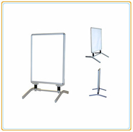 custom made a1 pavement poster frame stand with iron base feet double sides 32mm wide sliver aluminum frame model e06p8