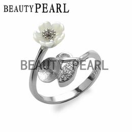 5 piezas Venta al por mayor Blanca Shell Flor Hoja Anillo Joyería Resultados 925 Plata de ley para DIY Pearl Ring Mount