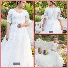 Wholesale El cordón blanco de la nueva llegada appliques más el vestido de boda árabe musulmán de la manga de la manera modesta del vestido de boda del tamaño superventas una línea vestido
