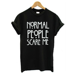 Discount wholesale shirts for summer Wholesale-Summer 2016 fashion normal people scare me print T-shirts for women tee shirt femme camiseta poleras tshirt female t shirts tops