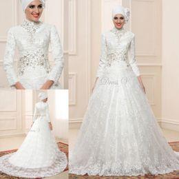 Wholesale Encanto Dubai una línea de vestidos de novia Vestido formal de encaje de la vendimia musulmana de la novia cuentas de manga larga vestido de novia de cuello alto por encargo