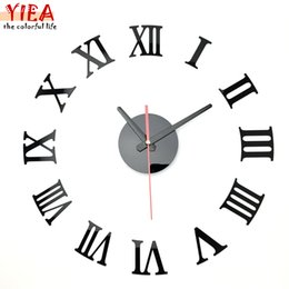wholesale new metal chic diy 3d home decor living room adhesive silver vintage roman numeral number wall clock mirror clock silver metal wall decor for sale - Home Decor For Sale