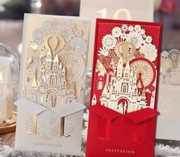 Único 3D Láser castillo invitaciones de boda tarjetas de corte láser 2016 barato personalizado boda tarjeta de invitación diseños LLFA