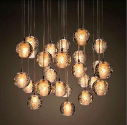 online shopping Famous brand LED Crystal Glass Ball Pendant Meteor Rain Ceiling Light Meteoric Shower Stair Bar Droplight Chandelier Lighting AC110 V