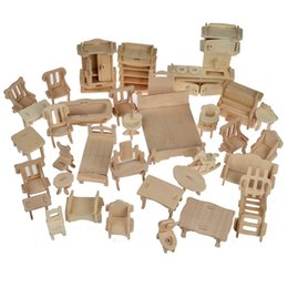 Wholesale 34 Pcs Set 3d Wooden Doll House Dollhouse Furnitures Jigsaw Puzzle Scale Miniature Models Diy Accessories Set Toys Dollhouse Accessories Diy On