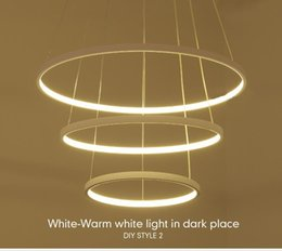 Modern Led Pendant Light Living Room Decor Acrylic Dimmable 3 Circles Hanging Lamp With Butterfly Lamparas Lustre