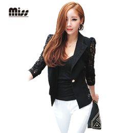 Wholesale MISS Primavera Mujer Lace Blazer Negro Sólido Slim Single Button Formal Chaqueta Negro Trajes Señoras Trabajo Elegent Blazers T3B23