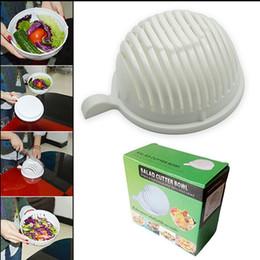60 segundo cuchara de la ensalada del tazón de fuente Fácil ensalada Arandela vegetal de la fruta y cortador Cuchara de la ensalada Tazón de fuente del cortador Caja KKA1324
