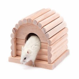 Оптовая натурального дерева Hamster дом Guinea Pig Песчанка Мыши Крысы Мыши Кейджа жевательные игрушки Маленькие животные Принадлежности JJ0248