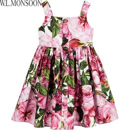 online shopping W L MONSOON Girls Dress Summer Brand Kids Pink quot Rose Bianco quot Cotton Dresses for Girls Costumes with Button Princess Dress