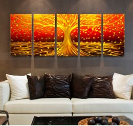 Yellow Tree Abstract Metal Wall Art Painting With Aluminum Polished Effect  For Home Decoration Discount Metal