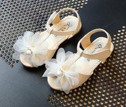 Wholesale Los niños de las sandalias de las muchachas de las sandalias de las muchachas florecen los niños estereofónicos de la sandalia de la princesa de la flor jadean los zapatos planos de las muchachas del calzado de los niños