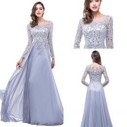 2017 Silver Plus Размер матери Свадебные платья с длинным рукавом из бисера Вечернее платье Sexy Sheer Лодка шеи шифон Пром платья BZP0797