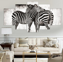 Frame 5 Pieces Canvas Wall Art Zebra Animal Canvas Painting Oil Wall Art Pictures For Living Room Home Decor Printed On Canvas