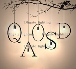 hot sell pendant lamp letters wrought iron chandelier creative personality loft balcony clothing store study restaurant bar coffee house modern house
