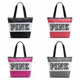 online shopping Fashion Pink Letter Handbags Secret VS Shoulder Bags Women Love Large Capacity Travel Duffle Striped Waterproof Beach Bag Shoulder Bag F304