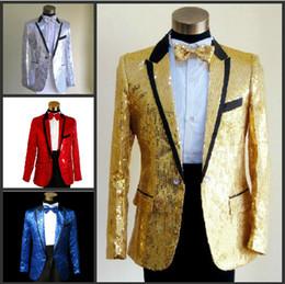 Wholesale Las chaquetas del juego de los hombres de la manera de la marca de fábrica adelgazan la chaqueta roja del baile de fin de curso del novio de la boda del oro de los cequis aptos