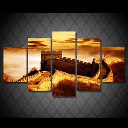 5pcs set hd printed sunset chinese gratewall painting canvas print room decor print poster picture canvas custom canvas art