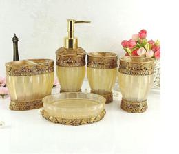 High Grade 5 Pieces Bathroom Accessory Set Gold Resin Sanitary Ware Home Decor Bath Ideas Home Gift