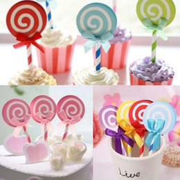 wholesale 6pcs cute lollipop party cupcake toppers picks decoration for kids birthday party cake favors decoration supplies discount lollipop cake supplies - Wholesale Cake Decorating Supplies
