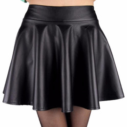 Discount Black Leather Flared Skirt | 2017 Black Leather Waist ...