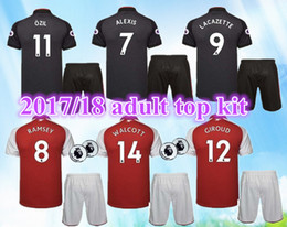 3eb9ef0a89b free shipping top quality 17 18 new armory Gunners home soccer jersey adult  Kits 2017 2018 ALEXIS WILSHERE OZIL football men uniforms sets cheap black  green ...