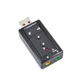 200pcs tarjeta de sonido USB externa de 7.1 canales 3D tarjeta de sonido Mic micrófono audio de altavoz 3,5 mm Jack Convertir para PC Notebook