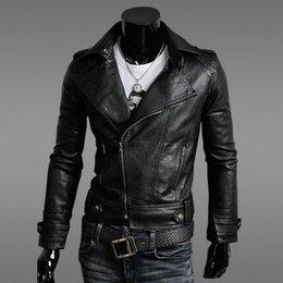 Бесплатная доставка зима новый горячей моды для мужчин кожа мотоцикла пальто на молнии куртки мужские кожаные пальто Верхняя одежда Роскошные черное пальто теплая шерсть