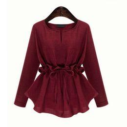 Осень Весна Женщины Блузы Outfit Новый Плюс размер 3-5XL показать тонкие талии с длинными рукавами хлопка и льна Куртка Блуза