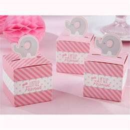 Free Shipping 100pcs Pink Elephant Wedding Favors And Gifts Candy Box For Birthday Party Decorations Kids Baby Shower Supplies