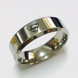 cool boys girls 8mm white gold silver color superman hero rings for men women high quality - Superman Wedding Rings