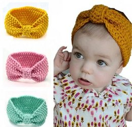 Wholesale 0 T Bébé Bohême Turban Tricot Bandeaux Mode protéger Boucle d oreille Chapeau Accessoires pour cheveux Accessoires pour photos LLFA