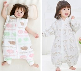 Discount cotton gauze patterns Baby Sleeping Bag Six Layer Gauze Thick Clothing Cotton Child Sleeping Bag With Detachable Sleeve