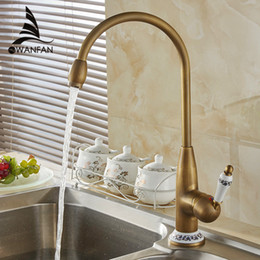 free shipping new style antique brass finish faucet kitchen sink basin faucets mixer tap with ceramic hot and cold 4116f 20170423 - Brass Kitchen Sink