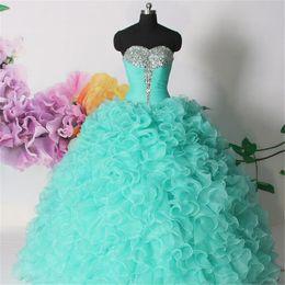 Wholesale Sweet Vestidos Vestido Quinceanera Debutante Ruffles Cristales Puffy Quinceanera Vestidos Ball Gowns Long Prom Dresses