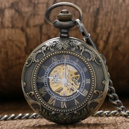 discount mens gold pocket watch 2017 mens gold pocket watch on discount mens gold pocket watch whole sgipping classic stainless steel steampunk gold skeleton mens