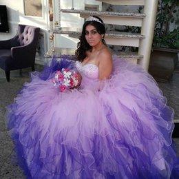 Wholesale Sexy Ombre Quinceanera Dresses Organza Organza Sweetheart Organza Ruffles Debutante Vestido de Baile Prom Dress Gradient Colorido Sweet Vestidos