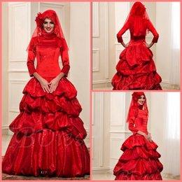 Wholesale Vestido De Noiva Pick Ups mangas de longitud Abrbic vestido de boda musulmán lentejuelas de cuello alto vintage mujeres vestidos de novia